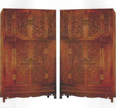 清早期红木雕花镶嵌缂丝绢绘屏风(2006/12/25)